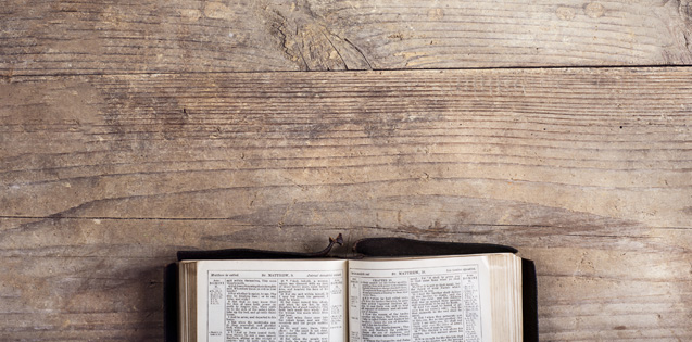 Bible open to verse on doubt