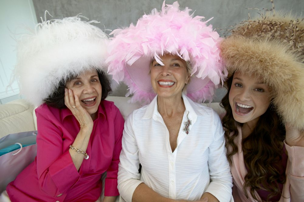 older women with funny hats