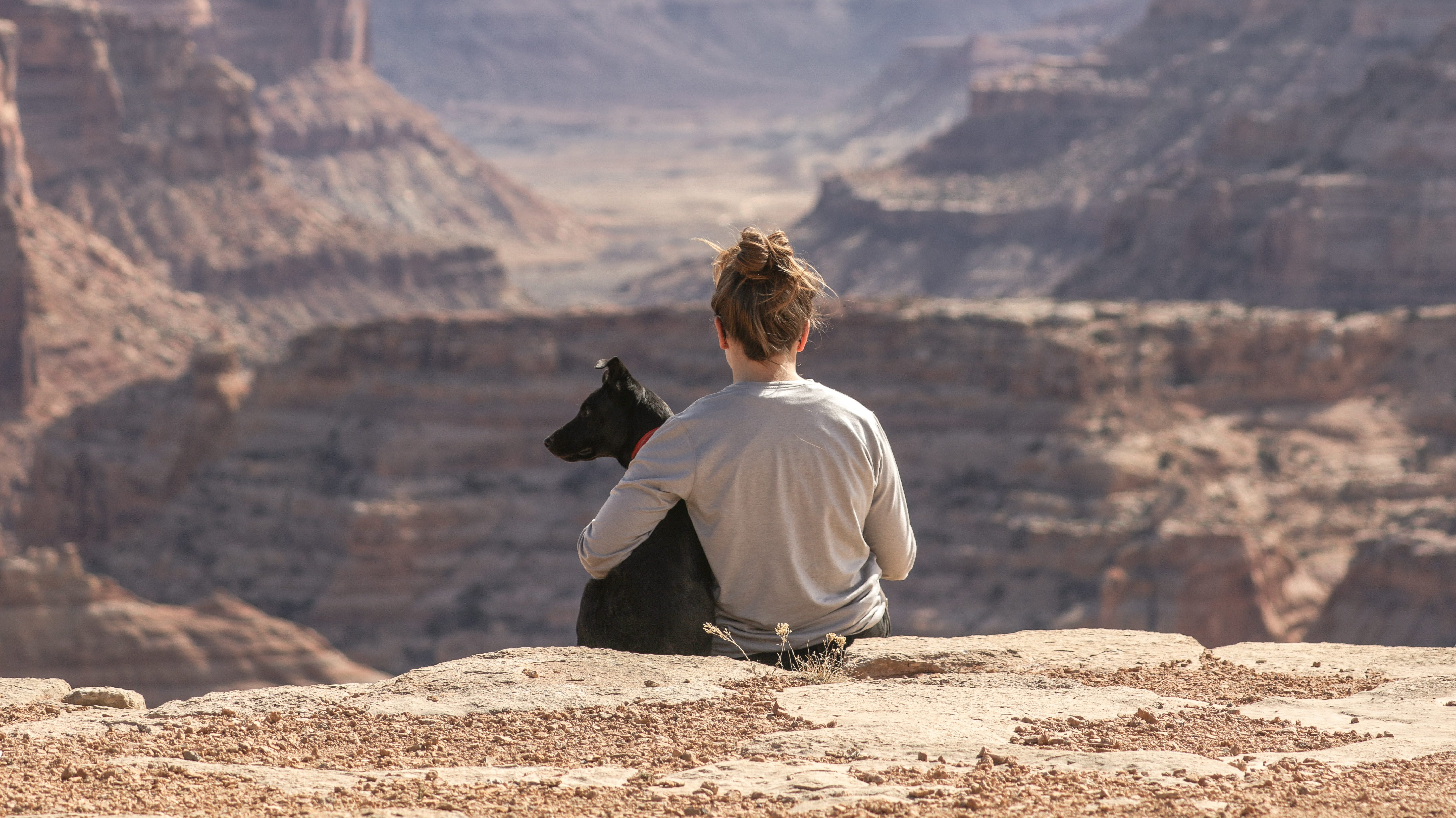 a woman and her pet