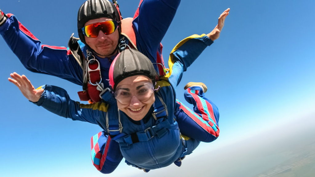 skydivers in free-fall